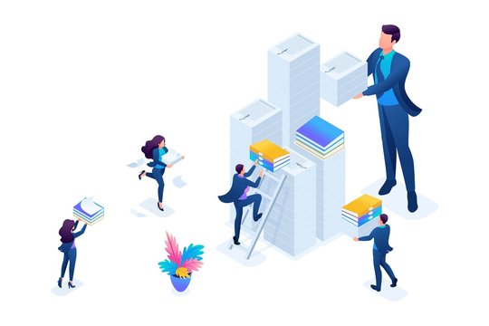 Isometric Data collection for reporting, audit company in tax period. Concept for web design