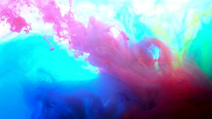 Fototapete - 4K ,Color paint drops in water , abstract color mix , drop of Ink color mix paint falling on water Colorful ink in water, 4K footage,