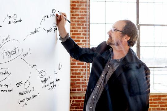Man writing on a board