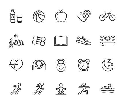 Vector set of healthy lifestyle line icons. Contains icons exercise, healthy eating, outdoor walking, daily routine, knowledge, good mood and more. Pixel perfect.