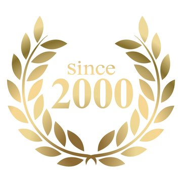 Year 2000 gold laurel wreath vector isolated on a white background