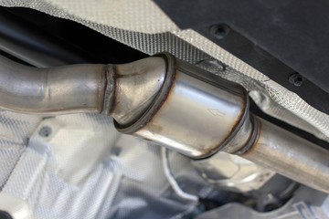 Catalytic converter of a modern car bottom view.