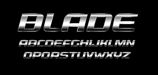 Blade letters set. Polished metal texture, chrome and silver color alphabet. Bold italic font, strong and speed style, ideal for sport and automotive. Vector typography