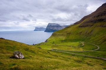 Wall Mural - Road going to Trollanes village on Kalsoy in Faroe Islands, Denmark