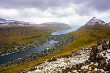 Wall Mural - View from the Klakkur mountain over the city of Klaksvik on Faroe Islands