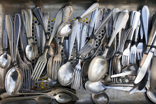 Close-up Of Silverware In Kitchen