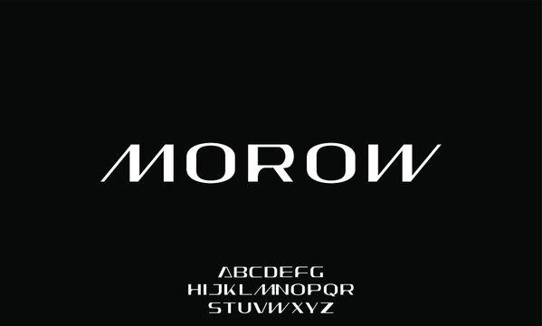 morow, the futuristic modern font alphabet vector set
