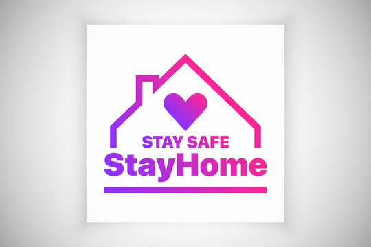 Stay At Home Stay Safe Slogan Vector Logo Isolated On White Background. Protection Campaign Measure Coronavirus 2019-NCOV COVID-19. Social Media Sign Stayhome Hashtag. Lockdown Quarantine Poster