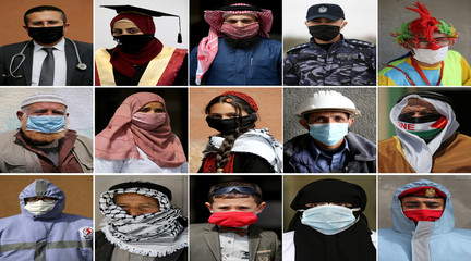 A combination picture shows Palestinians wearing face masks to safeguard themselves from the coronavirus disease, in the southern Gaza Strip
