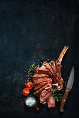 Printed roller blinds Steakhouse Grilled dry aged tomahawk beef steak sliced
