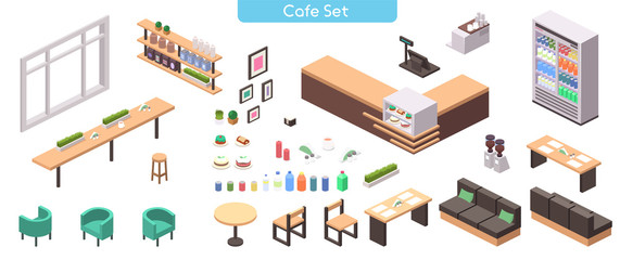 Vector realistic illustration isometric cafe set