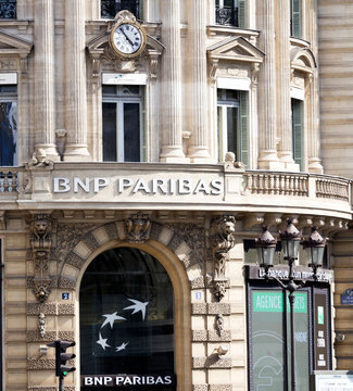 PARIS - View of BNP Paribas building in Paris. BNP Paribas is a French bank and financial services company with headquarters in Paris.