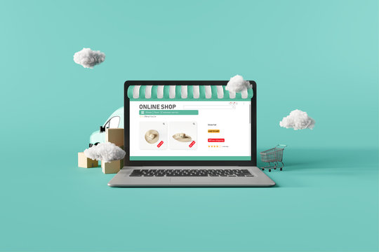 Online shopping website on laptop with delivery van on green mint background. 3d rendering