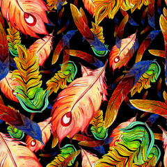 Foto op Canvas Paradijsvogel pattern of watercolor feathers of a firebird
