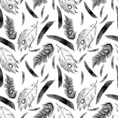 pattern of watercolor feathers of a firebird