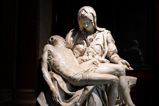 Vatican city, Rome - March 07, 2018: Replica of Michelangelo Pieta exhibited in Pinacoteca gallery in Vatican museums