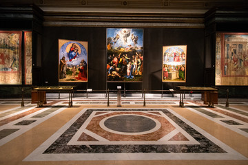 Vatican city, Rome - March 07, 2018: Raphael's Transfiguration painting in Pinacoteca gallery in Vatican museums
