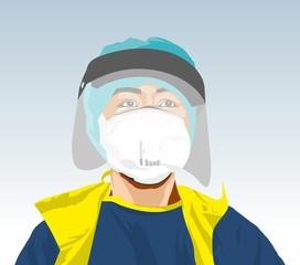 Fototapeta Doktor w masce i przyłbicy w walce z koronawirusem. Wektor Covid 19 2020 obraz