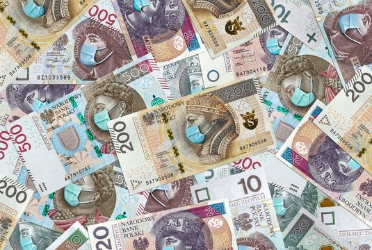All Polish banknotes with face mask against Coronavirus which hit Polish economy causing recession and bankruptcy of thousands of companies. National Bank of Poland prints billions zlotych.