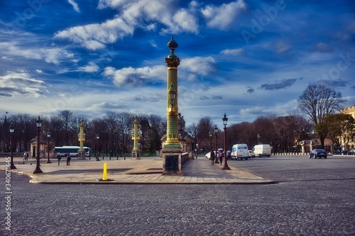 Wall mural Beautiful Place de la Concorde, Paris under an amazing Sky during the lock-down period due to covid-19