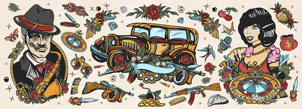 Gangsters Old school tattoo collection. Crime boss plays saxophone, retro car, robbers, bandits weapons, croupier pin up girl, casino, cabaret. Noir criminal movie art. Traditional tattooing style