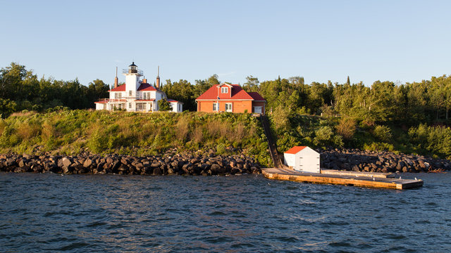 Raspberry Island Lighthouse in Wisconsin on Lake Superior in the Apostle Islands National Lakeshore