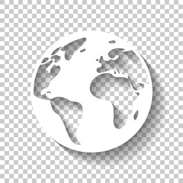 Earth planet, global map. White icon with shadow on transparent background