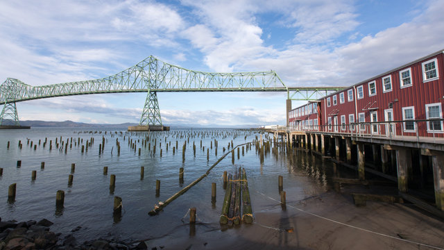 A view of the Astoria-Megler bridge in Astoria, Oregon.
