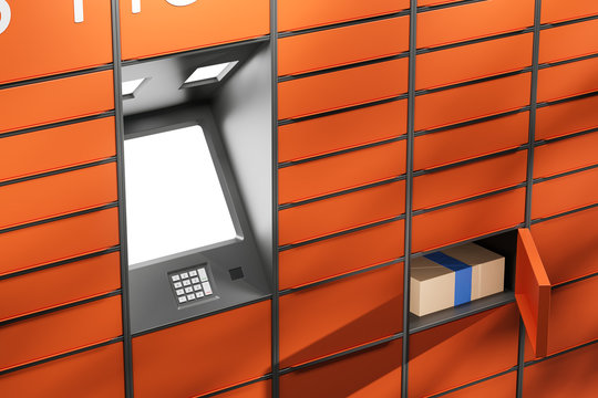 Orange automatic messenger terminal self service device for receiving parcels. Blank white screen for mock up. Open door of an electronic locker with a parcel. 3d rendering