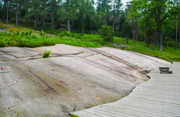 Rock Carvings from Bronze Age, which are about 3000 years old, located at one time on the shores of the fjord, now a UNESCO World Heritage Site. Tanum, Sweden.