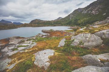 Fototapete - Beautiful rocky seashore. Shoreline in northern Norway. Wild nature of Norway, Europe