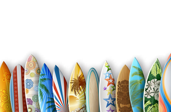 Surfboards on White Background