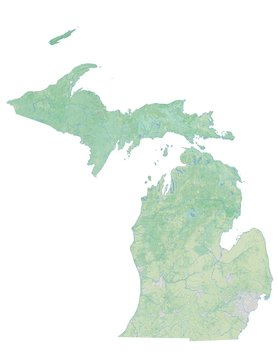 High resolution topographic map of Michigan with land cover, rivers and shaded relief in 1:1.000.000 scale.