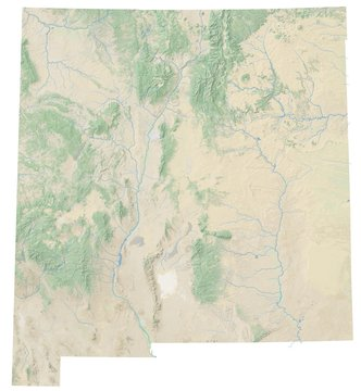 High resolution topographic map of New Mexico with land cover, rivers and shaded relief in 1:1.000.000 scale.