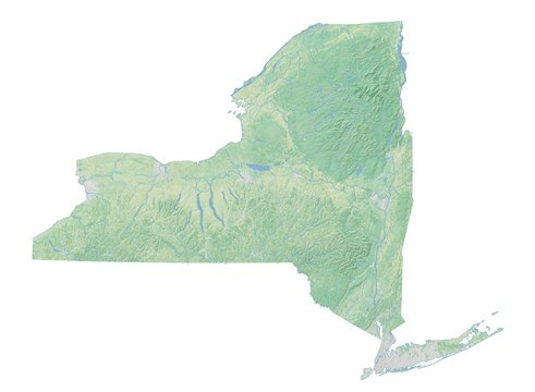 High resolution topographic map of New York with land cover, rivers and shaded relief in 1:1.000.000 scale.