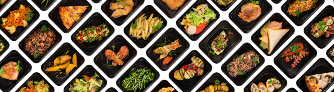 Collection of black plastic take away boxes with healthy food. Set of containers with everyday meals - meat, vegetables and law fat snacks on white background