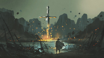 a warrior standing at the abandoned port and looking at the broken giant sword, digital art style, illustration painting