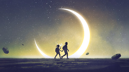 night scenery showing a brother and sister holding hands walking above the sky with the crescent in the starry night, digital art style, illustration painting