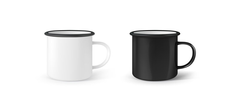 Enamel 3d photo realistic metal white and black mugs isolated on white background. Vector illustration.
