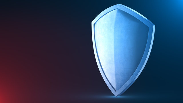 Protection shield and safeguard concept illustration. Safety badge icon. Privacy banner. Security label. Defense sign.  Force and strong symbol. Isolated background