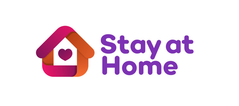 Stay at Home vector sign - coronavirus prevention method. Stay home club. Corona virus quarantine illustration. Self isolation concept. Home icon. Vector 10 eps