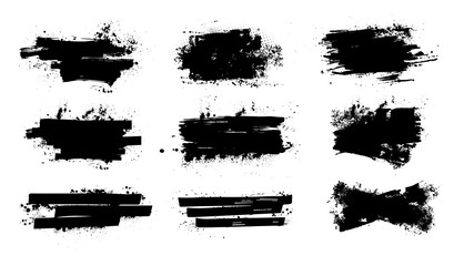 Fotobehang - Splashes banners grunge for you design. Horizontal black splashes with drops blots. Isolated set dirty liquid, high quality manually traced. Vector banners template, dirty texture