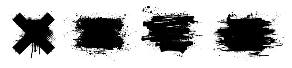 Fotobehang - Black paint stencil with splashes. Ink brush strokes, art composition. Dirty artistic design elements, boxes, frames for text. Inked splatter dirt stain brushes with drops blots. Vector set