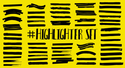 Fotobehang - Lines for underlining and highlighting text. Marker strips, color stroke, brush pen hand drawn underline. Yellow watercolor on black background. Hand drawn highlight set. Vector marker lines set