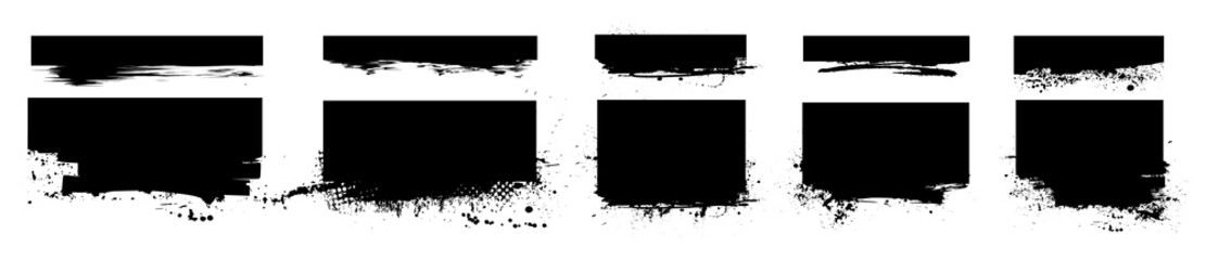 Isolated set brushstroke with ink splashes. Dirty artistic design element, box, ink background for text. Black ink splatter, dirty stains with drops, silhouette dirty grunge effect. Vector collection Fotomurales