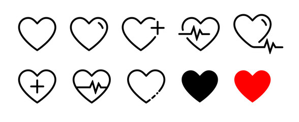 Heart vector icons. Set of heartbeat icon on isolated background. Symbol cardiogram heart logo in linear style. Vector illustration