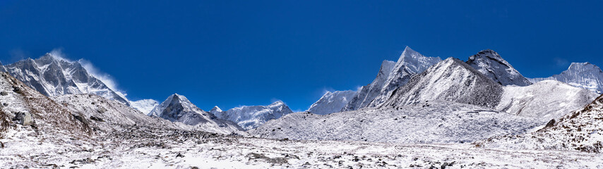 Way to Mount Island Peak. View from village Chukhung, is lodge serving trekkers and climbers in Khumbu region of Nepal in Himalayas south of Mount Everest.