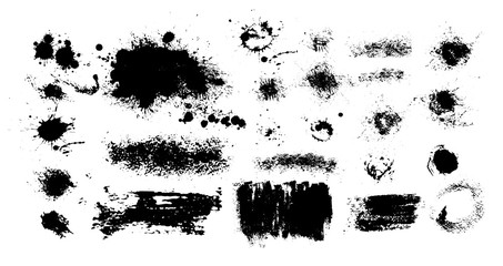 Photo sur Aluminium Forme Set of blots. Black spots of paint on a white background. Grunge frame of paint. Vector