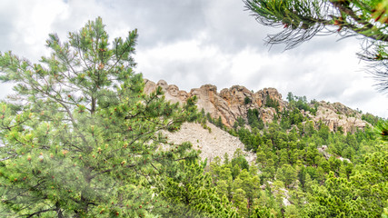 Fototapete - The Mount Rushmore surrounded by trees, South Dakota