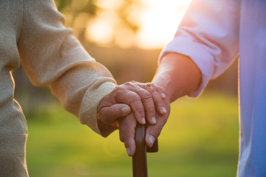 A happy senior couple asian old man and woman holding wooden walking stick hold hand each other and standing in park during sunrise or sunset . Senior healthcare and relationship concept.